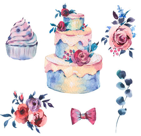 Watercolor Set of Wedding Cake with Red Roses. Hand Drawn Bakery Collection Isolated on White Background. Party design Illustration