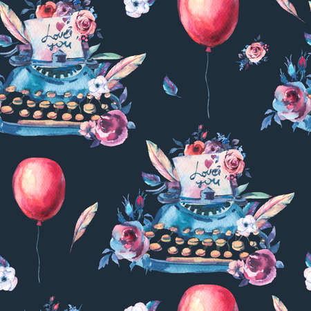 Vintage Watercolor Typewriter Seamless Pattern with Roses, Anemones, Feathers, Air Balloons and Wildflowers on Black Background. Bohemian Design Collection Reklamní fotografie