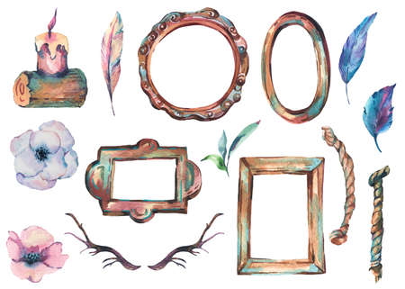 Watercolor Set of Antique Golden Wooden Frame with Flowers, Horns, Rope Hand Painted Vintage Illustration isolated on White Background. Floral Design Collection