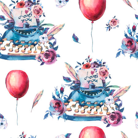 Vintage Watercolor Typewriter Seamless Pattern with Roses, Anemones, Feathers, Air Balloons and Wildflowers on White Background. Bohemian Design Collection