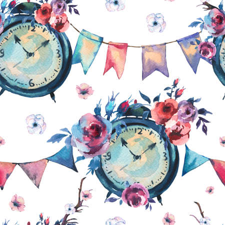 Watercolor Vintage Seamless Pattern with Alarm Clock, Flowers, Party Garlands in Bohemian Style on White Background, Floral Decor Design Collection Reklamní fotografie