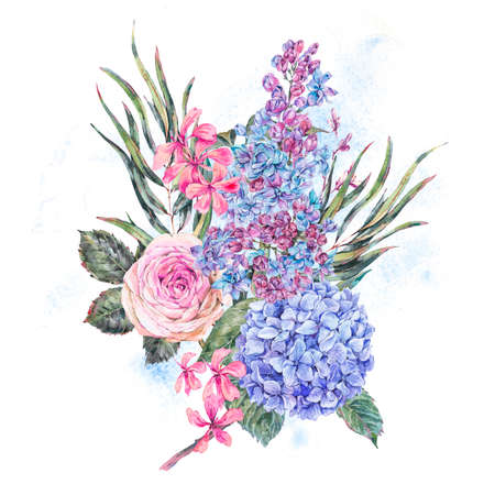 Watercolor vintage floral illustration with roses, lilac, blue hydrangea and wildflowers.