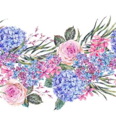 Watercolor vintage floral seamless border with roses, lilac, blue hydrangea and wildflowers. Reklamní fotografie