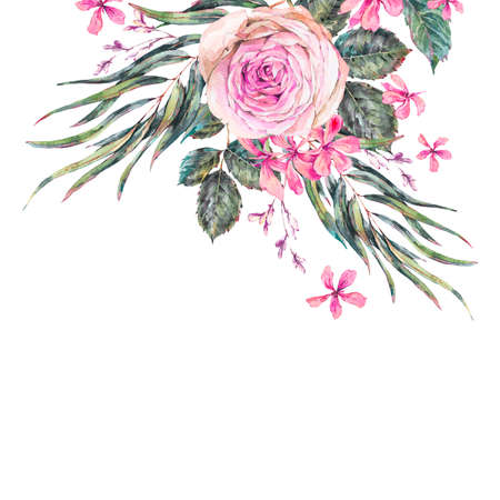 Watercolor vintage floral greeting card with pink roses and wildflowers.