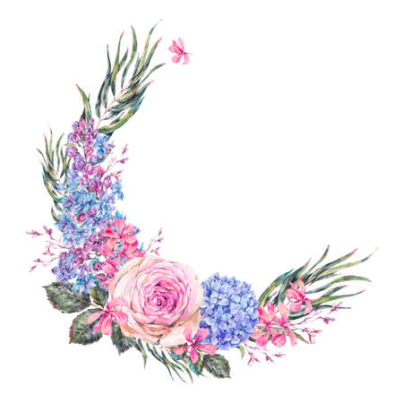 Watercolor vintage floral wreath with roses, lilac, blue hydrangea and wildflowers.