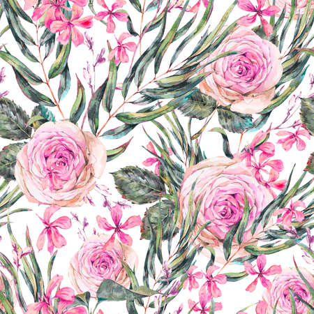 Watercolor vintage floral seamless pattern with pink roses and wildflowers.