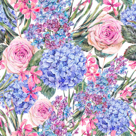 Watercolor vintage floral seamless pattern with roses, lilac, blue hydrangea and wildflowers.