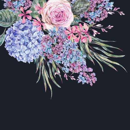 Watercolor vintage floral  with roses, lilac, blue hydrangea and wildflowers.