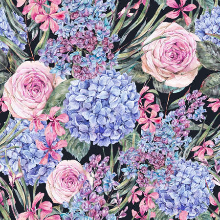 Watercolor vintage floral seamless pattern with roses, lilac, blue hydrangea and wildflowers. Natural botanical illustration on black background Reklamní fotografie