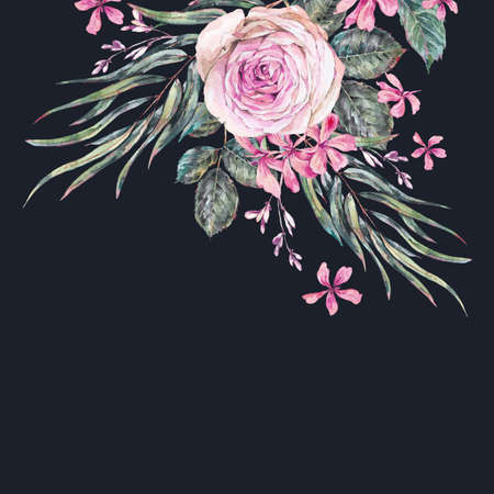 Watercolor vintage floral greeting card with pink roses and wildflowers. Natural botanical illustration  isolated on black background Reklamní fotografie