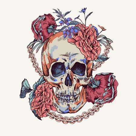 Vector Skull with roses, chains and wildflowers Day of The Dead, Vintage glamorous illustration.