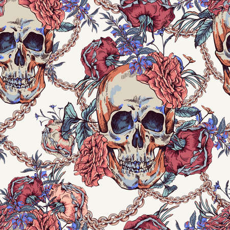Vector Skull with roses, chains and wildflowers seamless pattern. Day of The Dead Vintage glamorous illustration.