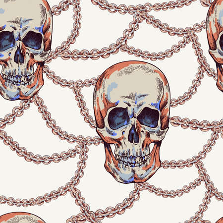 Vector Skull with chains seamless pattern. Day of The Dead Vintage glamorous illustration.