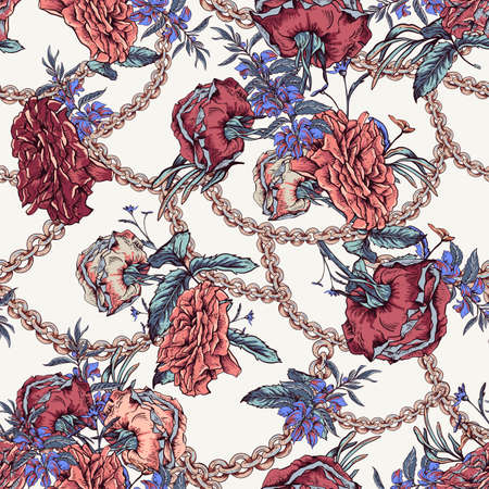 Vector vintage with roses, chains and wildflowers seamless pattern. Outline glamorous illustration.