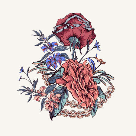 Vector vintage with roses, chains and wildflowers greeting card. Outline glamorous illustration. Ilustrace