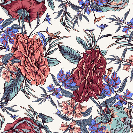 Vector vintage roses and wildflowers seamless pattern. Outline colorful illustration. Ilustrace