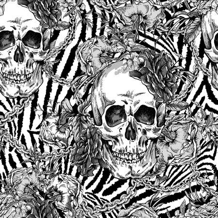 Vector monochrome Skull with roses, chains and wildflowers seamless pattern. Day of The Dead Vintage glamorous illustration on zebra background. Ilustrace