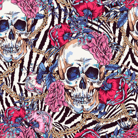 Vector Skull with roses, chains and wildflowers seamless pattern. Day of The Dead Vintage glamorous illustration on zebra background.