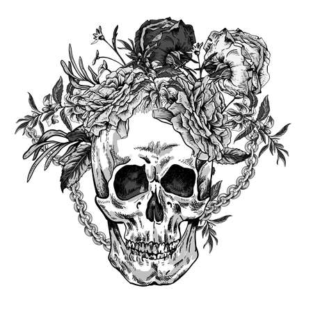 Vector monochrome Skull with roses, chains and wildflowers Day of The Dead Illustration