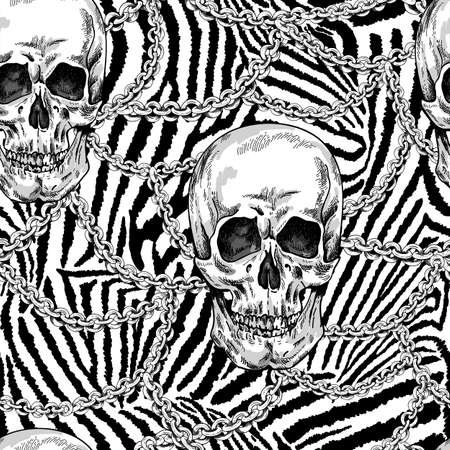 Vector monochrome Skull with chains seamless pattern. Day of The Dead Vintage glamorous illustration on zebra background.