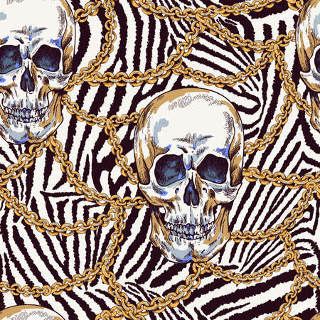 Vector Skull with chains seamless pattern. Day of The Dead Vintage glamorous illustration on zebra background.