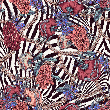 Vector vintage with roses, chains and wildflowers seamless pattern. Outline glamorous illustration on zebra background.