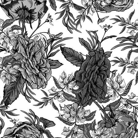 Vector monochrome vintage roses and wildflowers seamless pattern. Outline colorful illustration.