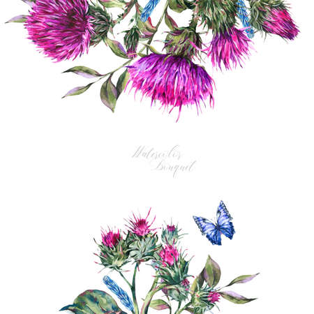 Watercolor frame with thistle, blue butterflies, wild flowers