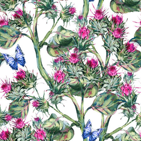 Watercolor thistle seamless pattern with blue butterflies, wild flowers, meadow herbs.