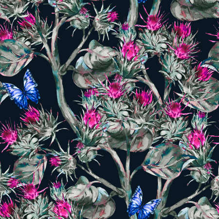 Watercolor thistle seamless pattern with blue butterflies, wild flowers, meadow herbs Reklamní fotografie