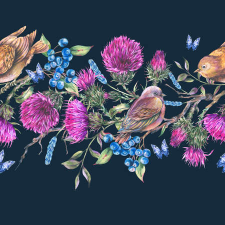 Watercolor seamless border with pair of birds on a branch, thistle, berries. Reklamní fotografie