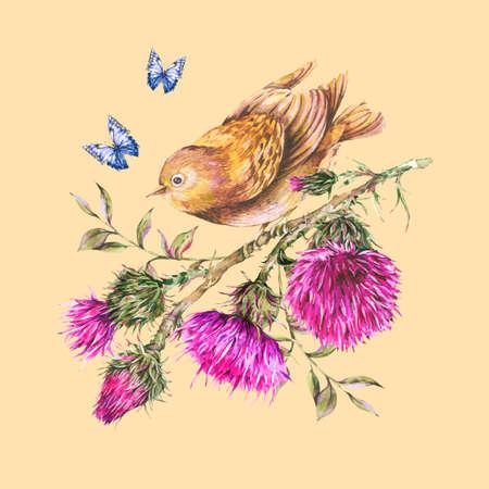 Watercolor bird, purple thistle, blue butterflies, wild flowers