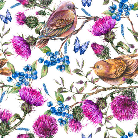 Watercolor seamless pattern with pair of birds, thistle, berries.