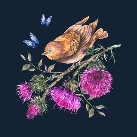 Watercolor bird, thistle, blue butterflies, wild flowers