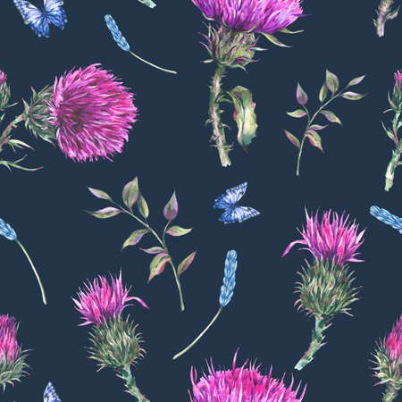 Watercolor purple thistle seamless pattern with blue butterflies, wild flowers,