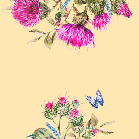 Watercolor frame with purple thistle, blue butterflies, wild flowers