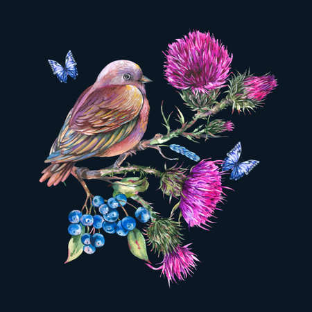 Watercolor bird with thistle, blue butterflies, berries, wild flowers
