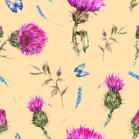 Watercolor purple thistle seamless pattern with blue butterflies, wild flowers, meadow herbs.