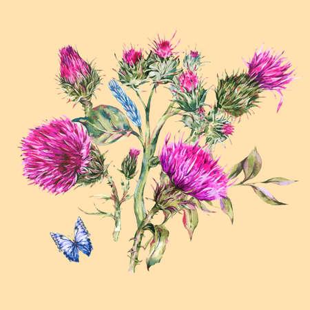 Watercolor purple thistle, blue butterflies, wild flowers