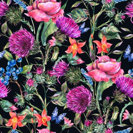 Watercolor thistle, poppy, blue butterflies, wild flowers seamless pattern, meadow herbs.