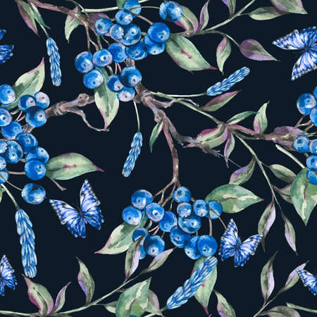 Watercolor summer forest seamless pattern with bunch of dark blue berries, green leaves, butterfly.