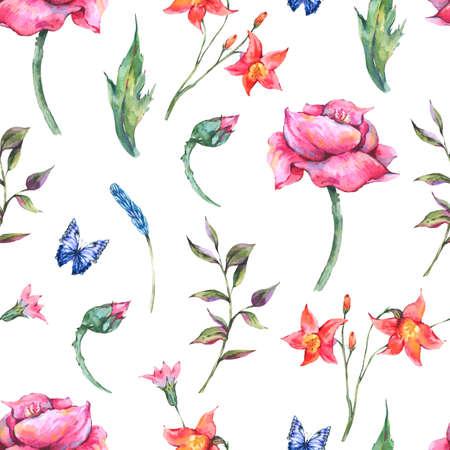 Watercolor poppy, blue butterflies, wild flowers seamless pattern, meadow herbs.