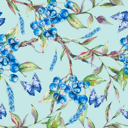 Watercolor summer forest seamless pattern with bunch of dark blue berries, green leaves, butterfly Reklamní fotografie