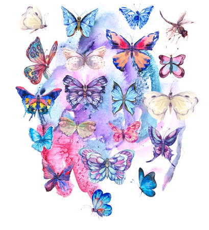 Watercolor butterflies vintage card, Colorful nature abstract   isolated on white