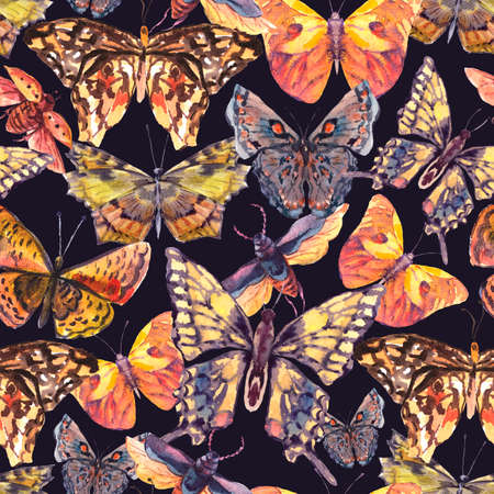 Watercolor butterflies vintage seamless pattern, Colorful nature abstract texture on black