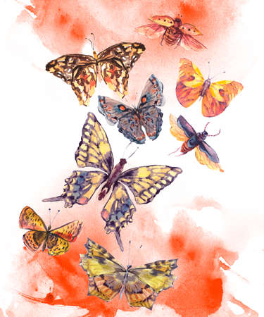 Watercolor brown and yellow butterflies vintage greeting card, Colorful nature