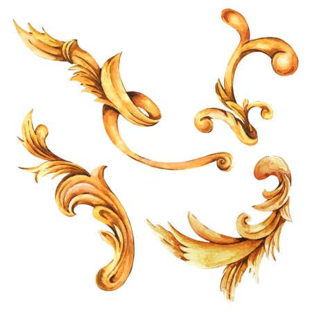 Watercolor set of golden baroque, rococo ornament elements.