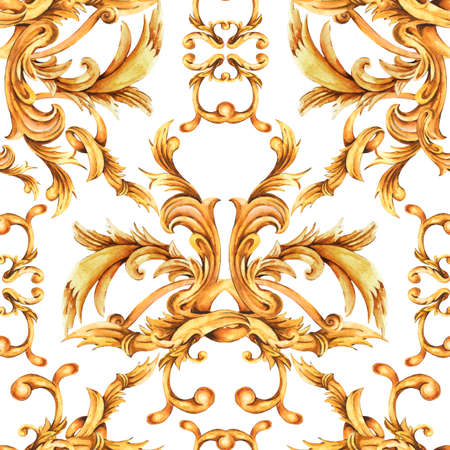 Watercolor golden baroque seamless pattern, rococo ornament texture. Stockfoto