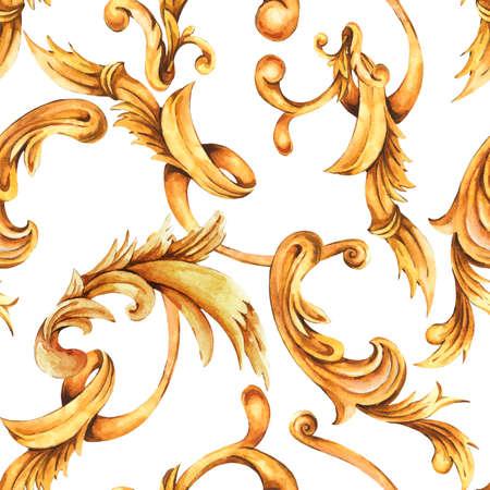 Watercolor golden baroque seamless pattern, rococo ornament texture.