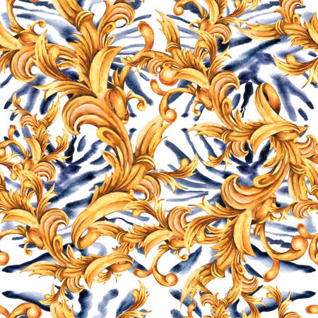 Watercolor animal print with golden baroque seamless pattern, rococo ornament texture.